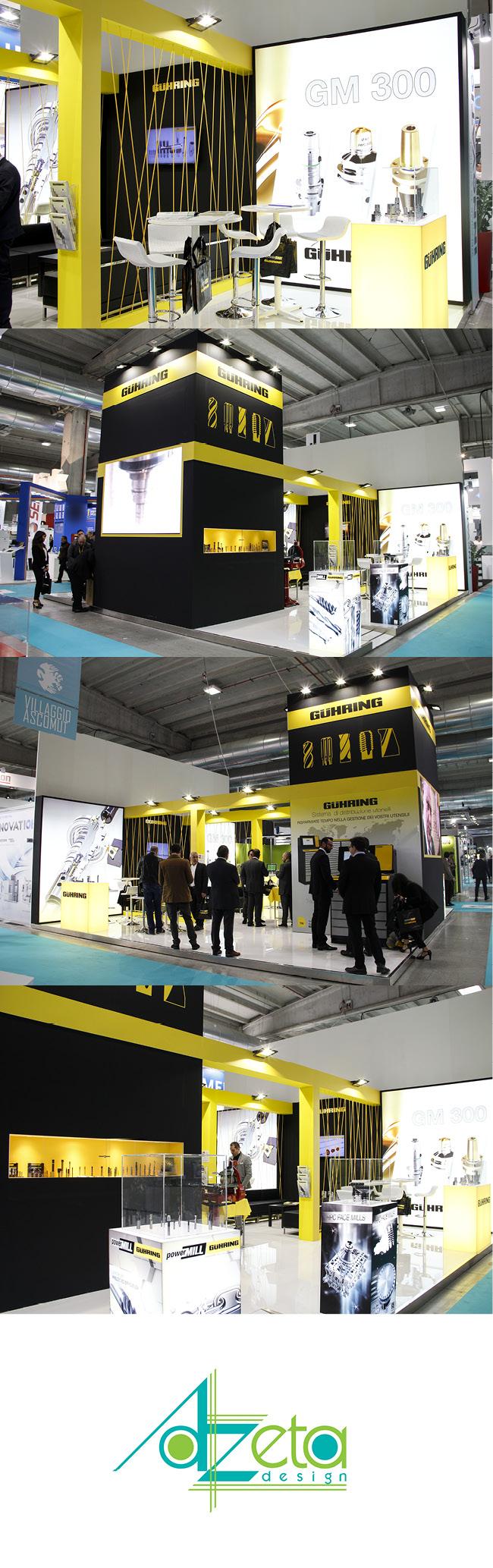 Stand dell'azienda Guhring realizzato da Azeta Design in occasione delle fiera Mecspe nell'anno 2017 nella città di Parma (IT).