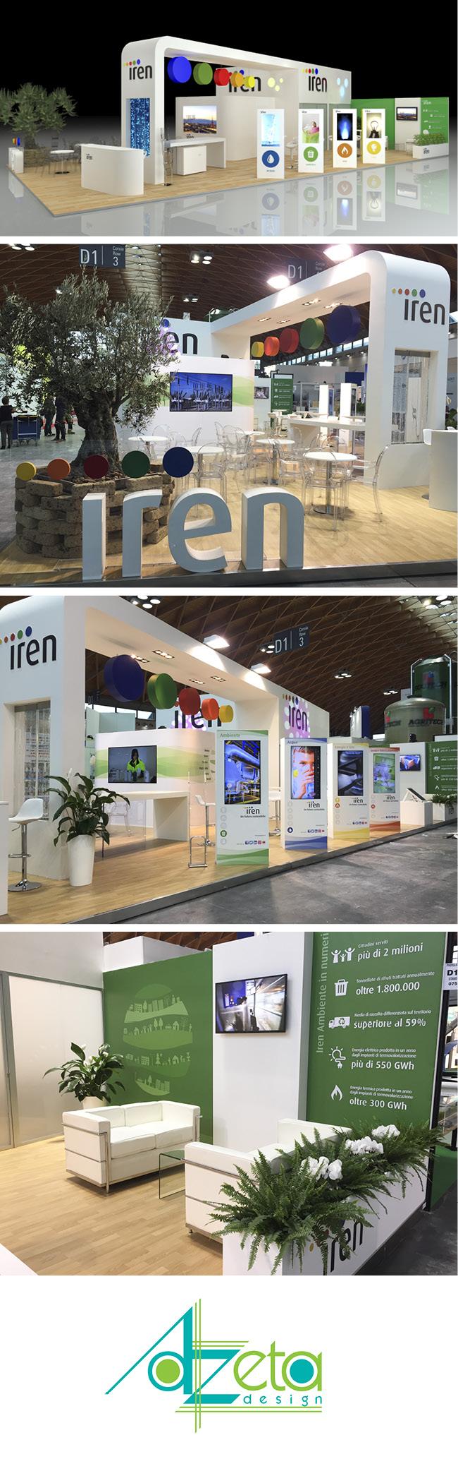 Stand dell'azienda Iren realizzato da Azeta design in occasione della fiera Ecomondo tenuta nella città di Rimini (IT).